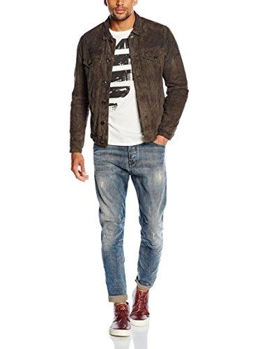 2ada99838055 Armani Jeans Herren Lederjacke Lehmbraun Gr IT 52 DE 48