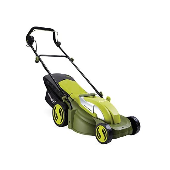 Sun Joe MJ403E Mow Joe 17-Inch 13-Amp Electric Lawn Mower/Mulcher 1 POWERFUL: 13-amp motor cuts a 17-inch wide path HEIGHT CONTROL: Tailor cutting Height with 7-position Height control CONVERTIBLE: Mulching + mowing function