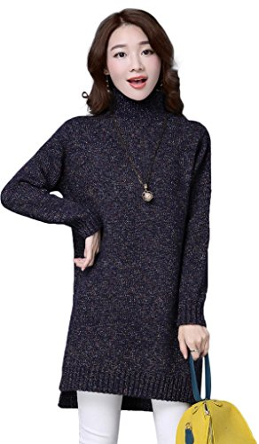 KUBITU Womens Casual Boyfriend Turtleneck Cable Knit Loose Pullover Long Sweater Large Navy (Cable Sale Sweaters Turtleneck Sweater)