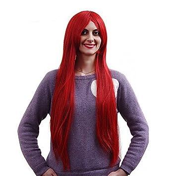 OOFAY JF® nueva cosplay peluca sintética roja de calidad superior recta larga oscura , red