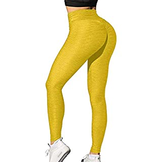 CFR Women's High Waist Yoga Pants Gym Workout Textured Leggings Tummy Control Slimming Booty Butt Lifting Tights #3 Wrinkle Yellow L