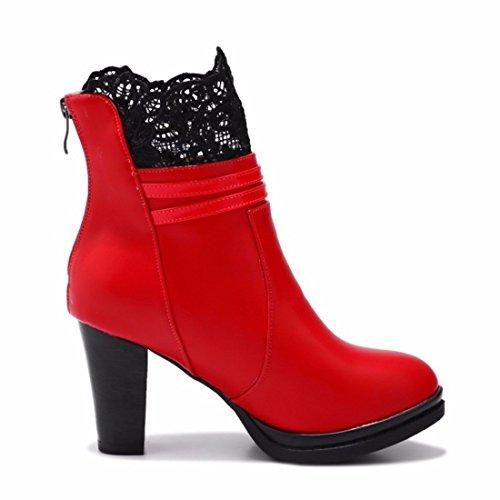 zapatos de mujer mujer de La tacón alto encaje de gules w6IqxY