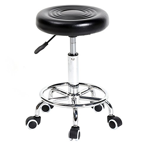 Tenozek Black Rolling Stool with Wheels Adjustable Swivel Stool Massage Salon Spa Stool PU Leather Office Chair Dental Nursing Chair(with Grain, Black)