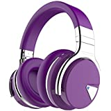 COWIN E7 Wireless Bluetooth Headphones with Mic Hi-Fi Deep Bass Wireless Headphones Over Ear, Comfortable Protein Earpads, 30 Hours Playtime for Travel Work TV Computer Phone - Purple