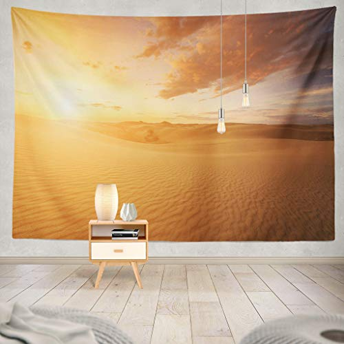 (KJONG Beautiful Desert Desert Sunset Sky Sand Sun Hot Heat Cloud Beautiful Sahara Africa Sandy Landscape Light Decorative Tapestry,60X80 Inches Wall Hanging Tapestry for Bedroom Living Room)