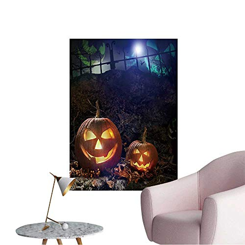 Wall Stickers for Living Room Halloween Pumpkins on Rocks in a Forest at Night Vinyl Wall Stickers Print,16