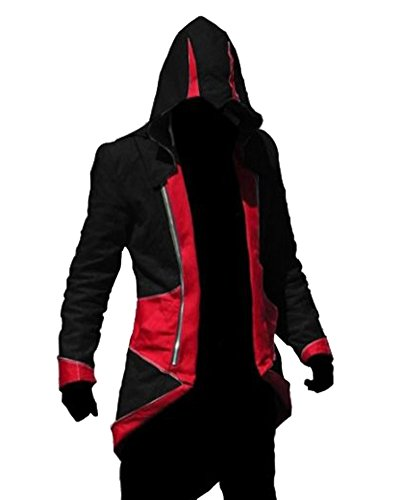 Costume Connor Assassin's Creed 4 (Rulercosplay Assassin's Creed 3 Connor Kenway Jacket Hoodie Cosplay (3 Colors) (XL, Red&Black))