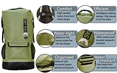 Quick Dry Padded Back and Shoulder Straps with Chest TOUR BAGS 30l Waterproof Backpack Waist Support Floating Splash Proof Water Resistant Front Pocket Roll Top Dry Bag extra internal storage