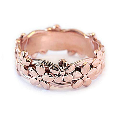 Iumer Women Copper Rose Gold Plum Flower Wedding Engagement Ring Jewelry Gift,10 -