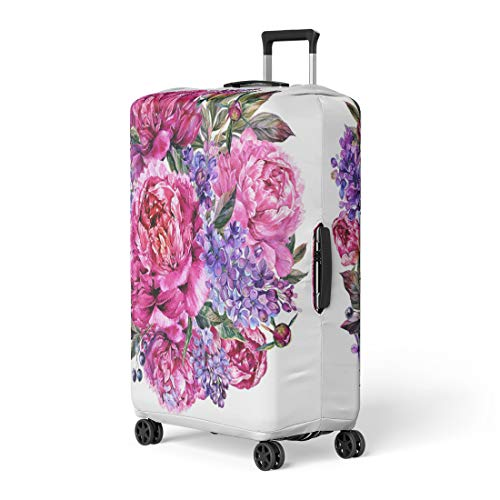 (Pinbeam Luggage Cover Watercolor Round Bouquet Made of Blooming Fuchsia Peonies Travel Suitcase Cover Protector Baggage Case Fits 22-24 inches)