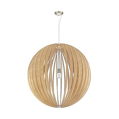 Eglo Lighting 201603A Cossano - One Light Pendant, Satin Nickel Finish with Maple Shade