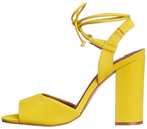 Calaier Mujer Capolice Bloquear 10CM Sintético Con Cordones Sandalias de vestir Zapatos Amarillo