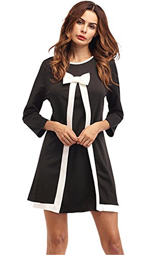 Long Sleeve Faux Two Piece Black White Colorblock Bowknot Bow Tie Mini Shift Straight Boxy Dress XL - Colorblock 2 Piece Dress