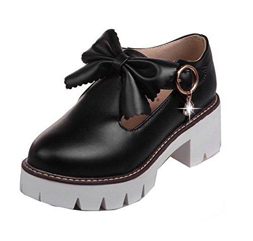 Heels Toe Closed Solid PU Women's Pumps Black WeenFashion Round Buckle Kitten Shoes 87YFSqw