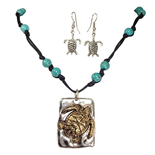 (Gypsy Jewels 2 Tone Sea Turtle Simulated Turquoise Beaded Black Waxed Cord Necklace Earrings Set )