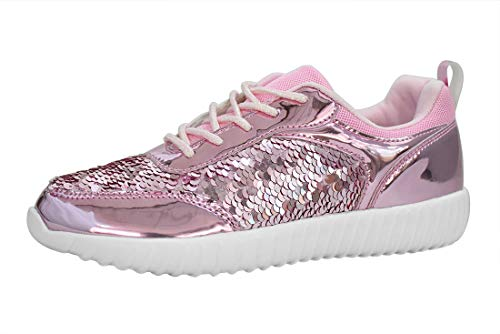 LUCKY STEP Sequin Shoes for Walking Womens Sneakers with Metallic Lace up Shoes - Shiny and Comfortable (6 B(M) US, Pink) ()
