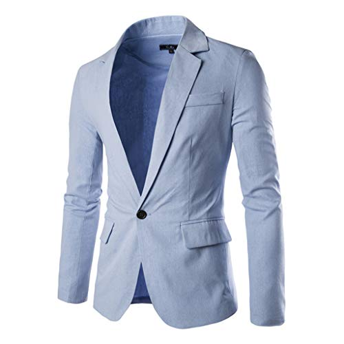 Jacket Sports Coat Blazer Slim Fit Casual Suit Coat One Button Business Lapel Suit Stylish Wedding Party Outwear Coat Suit Tops Men's (L,13#Light Blue)