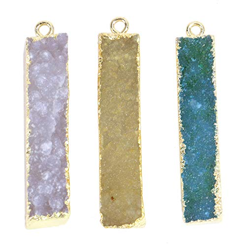 Druzy Agate Pendant - Monrocco 3 pcs Druzy Agate Bar Pendant Charms Connector for Jewelry Making
