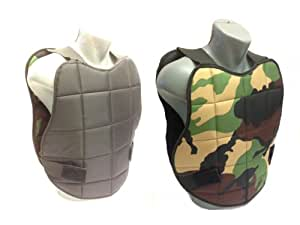 Chaleco protector para paintball, reversible, color camuflaje/negro