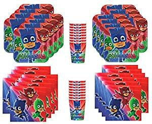 Costumes And Party Supplies (PJ Masks Birthday Party Supplies Bundle Pack for 16 Guests)
