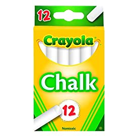 Crayola White Chalk 12 Each (51-0320) 174 A Chalkboard Classic: Kids will love learning to write and draw on a blackboard with tried-and-true Crayola Chalk. The classic white chalk pops on black or green chalkboards and erases quickly and easily. Easy-Glide Texture: These chalk sticks have a smooth texture that glides beautifully over blackboard surfaces.