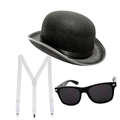 [Black Derby Deluxe Costume Hat by Funny Party Hats (Derby Hat & Set)] (A Clockwork Orange Alex Costume)