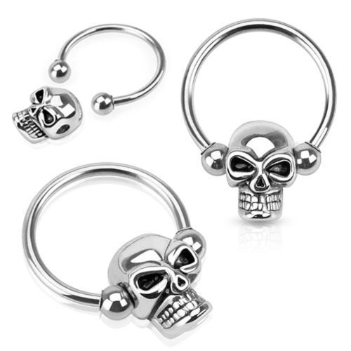 7ZACC Septum Skull 16g 16 Gauge (1.6mm), 15mm Long - 316l Surgical Stainless Steel Nose Septum Captive Bead Bar Skull ()