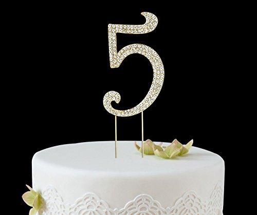 BABEYOND Rhinestone Crystal Number Cake Topper Picks 1/2/3/4/5/6/7/8/9/0 for Birthday Wedding Anniversary Party Supplies (Number Cake Toppers)