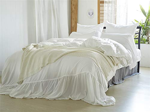 MooWoo Vintage Farmhouse Bedding, 3 Pieces Ruffle Duvet Cover Set Washed Microfiber Romantic Mermaid Tail French Country Style Duvet Cover with Ties (White, Queen)