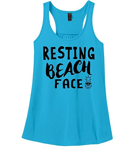 Comical Shirt Ladies Racerback Tank Resting Beach Face Turquoise XL
