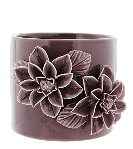 Napco Purple Ceramic Planter with Pop Out Flower Design, 4.5""