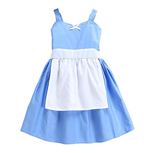 (Bindun Baby Girls' Snow White/Alice/Cinderella Maid Cosplay Costume Princess Dress with Apron Blue 120)