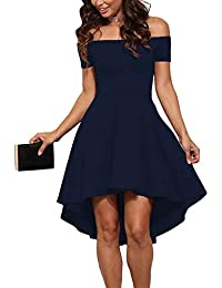 d860b5ba0640 Womens Off The Shoulder Short Sleeve High Low Cocktail Skater Dress