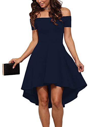 Sarin Mathews Women Off The Shoulder Short Sleeve High Low Cocktail Skater Dress Blue L