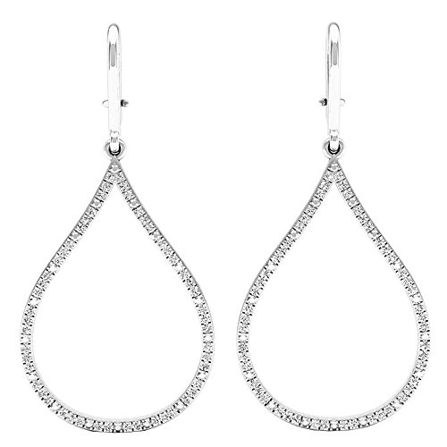 Dazzlingrock Collection 0.20 Carat (ctw) 14K Round White Diamond Ladies Teardrop Earrings 1/5 CT, White Gold
