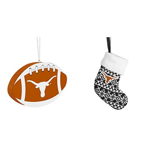 NCAA Texas Longhorns Foam Christmas Ball Ornament ORNAMENT STOCKING KNIT Bundle 2 Pack By Forever (Champions Christmas Stocking)