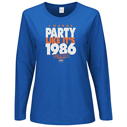 NY Baseball Fans. I Wanna Party Like It's 1986. Ladies Royal Shirt (Sm-2X) (Ladies Long Sleeve, Medium)
