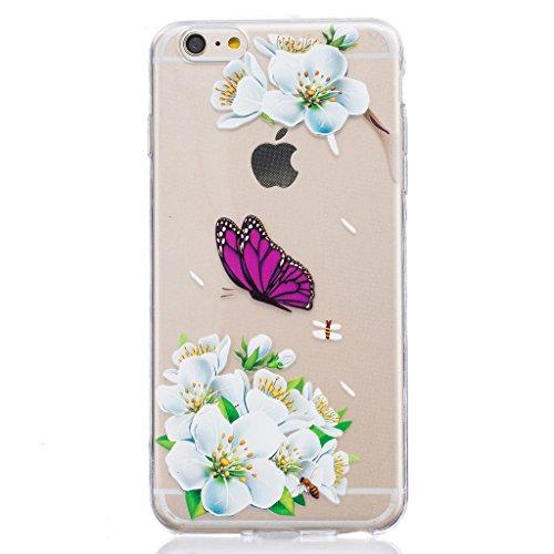 "Hülle iPhone 6 Plus / 6S Plus, IJIA Ultra Dünnen Lilie Schmetterling TPU Weich Silikon Handyhülle Schutzhülle Handyhüllen Schale Cover Case Tasche für Apple iPhone 6 Plus / 6S Plus 5.5"" + 24K Gold Auf"