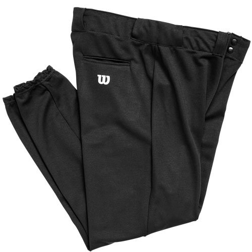 Wilson Youth Poly Warp Knit baseball Pant, Black, Large