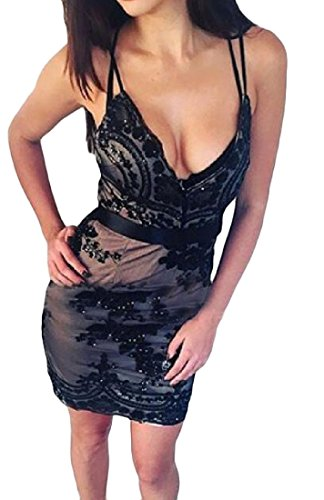 Confortables Parti Taille V-cou Femmes Robes Sangle Spaghetti Moulante Noire
