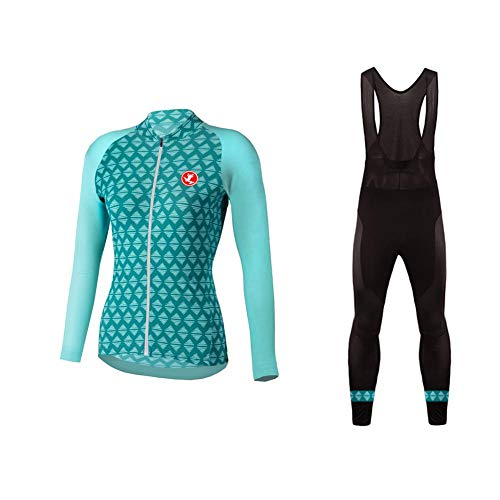 (Uglyfrog Winter Fleece Warm Womens Long Sleeve Cycling Jersey Kit Suits Bike Clothing Cycling Pants with Gel Padded (Two Pieces))