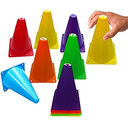 Toy Cubby Colorful Flexible Plastic Activity Play Traffic Cones Set - 12 Pcs