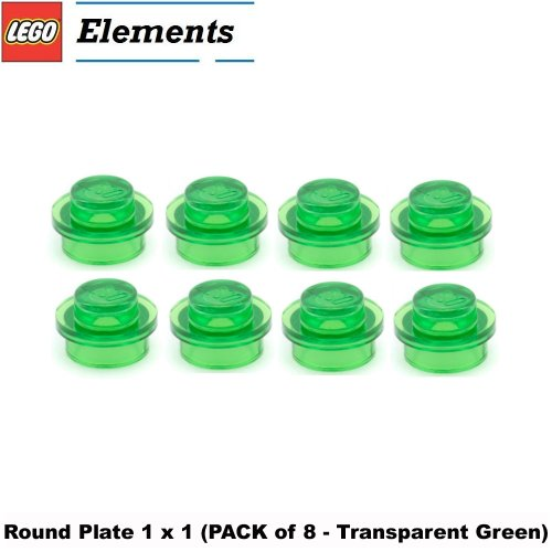 1x8 Lego (Lego Parts: Round Plate 1 x 1 (PACK of 8 - Transparent Green))