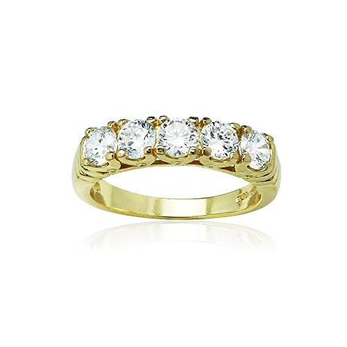 (Hoops & Loops Yellow Gold Flashed Sterling Silver Five Stone Eternity Ring created with Zirconia from Swarovski, Size 7)