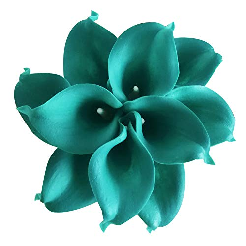 Jing-Rise 20PCS Calla Lily Real Touch Artificial Flower for DIY Wedding Bouquets Centerpieces Corsage Baby Shower Party Home Office Shop Hotel Supermarket Decorations (Teal -