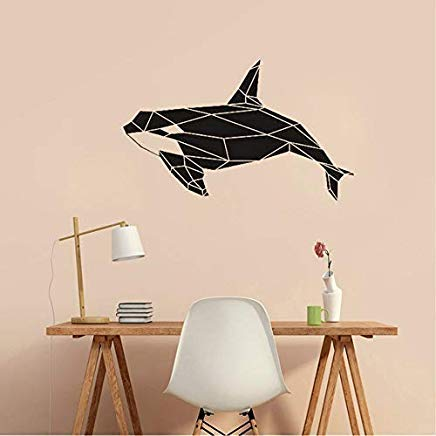 Modern Geometric Killer Whale Orca Wall Decal Sea Animal Decor Waterproof Vinyl Stickers for Kids Rooms Bathroom Classroom -
