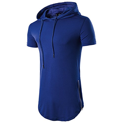Kedera Mens Hipster Hip Hop Short Sleeve Hoodies Side Zipper Longline Pullover Shirts (XX-Large, Blue)