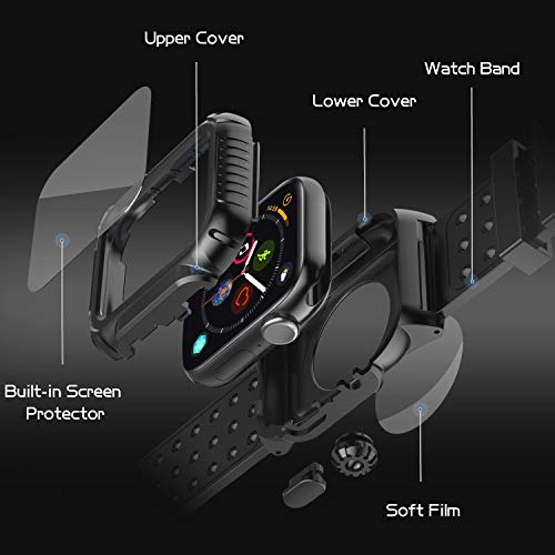 Apple Watch 4 Case Band 44mm 2018, SPIDERCASE 360° Rugged Case with Strap Band, Built-in Screen Protector Full Body Cover Case for Apple Watch Series 4 44mm ONLY, Anti-Scratch, Shockproof and More by SPIDERCASE (Image #2)