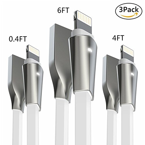 Aimus [3-Pack] Lightning Cable w/ LED Light [0.4FT+4FT+6FT] High