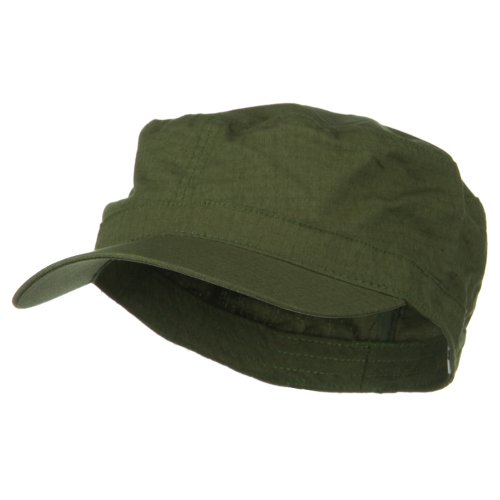Enzyme Frayed Army Caps - e4Hats.com Big Size Fitted Cotton Ripstop Military Army Cap - Olive 8-1-4